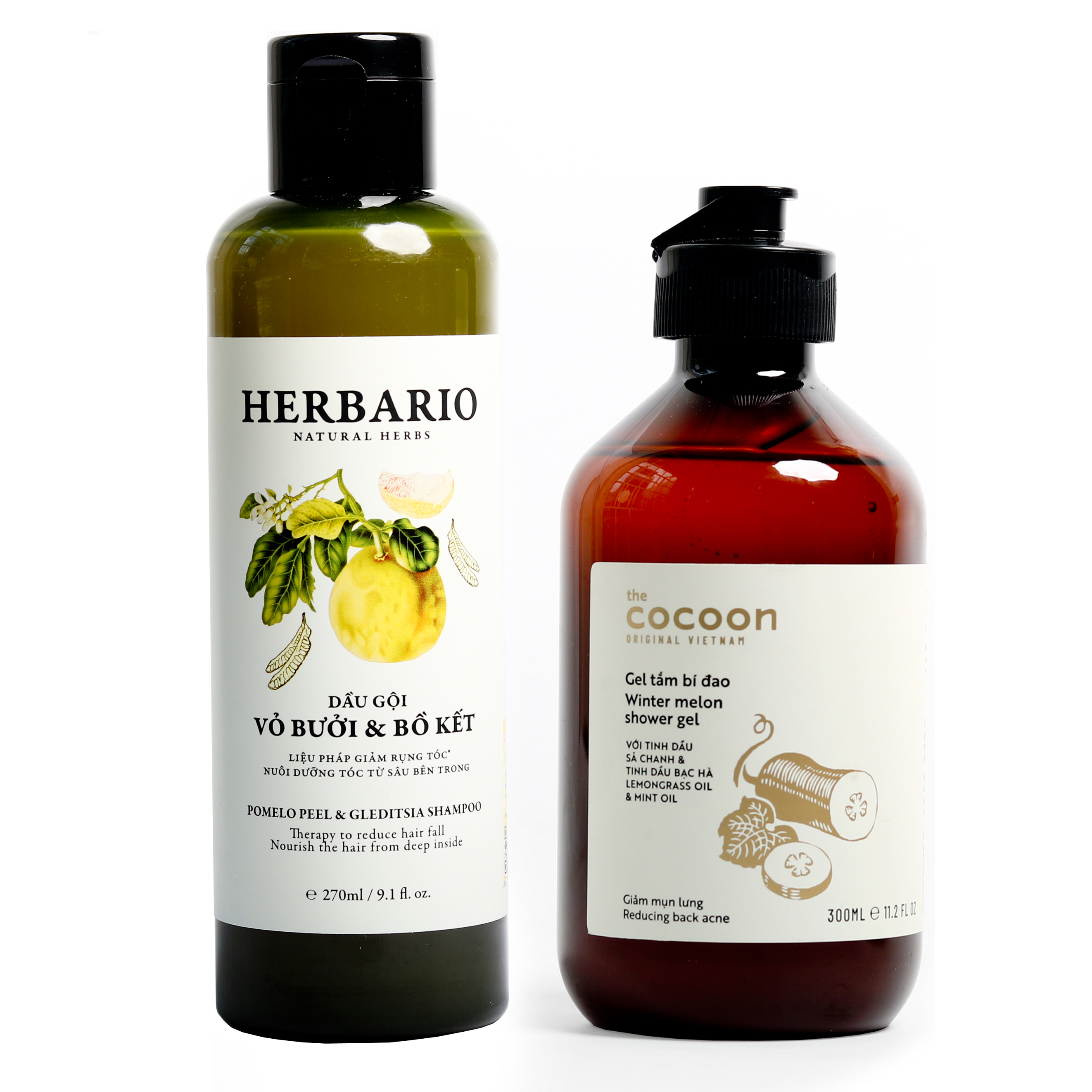 Bộ dầu gội bưởi bồ kết Herbario (270ml) +  gel tắm bí đao Cocoon (500ml)