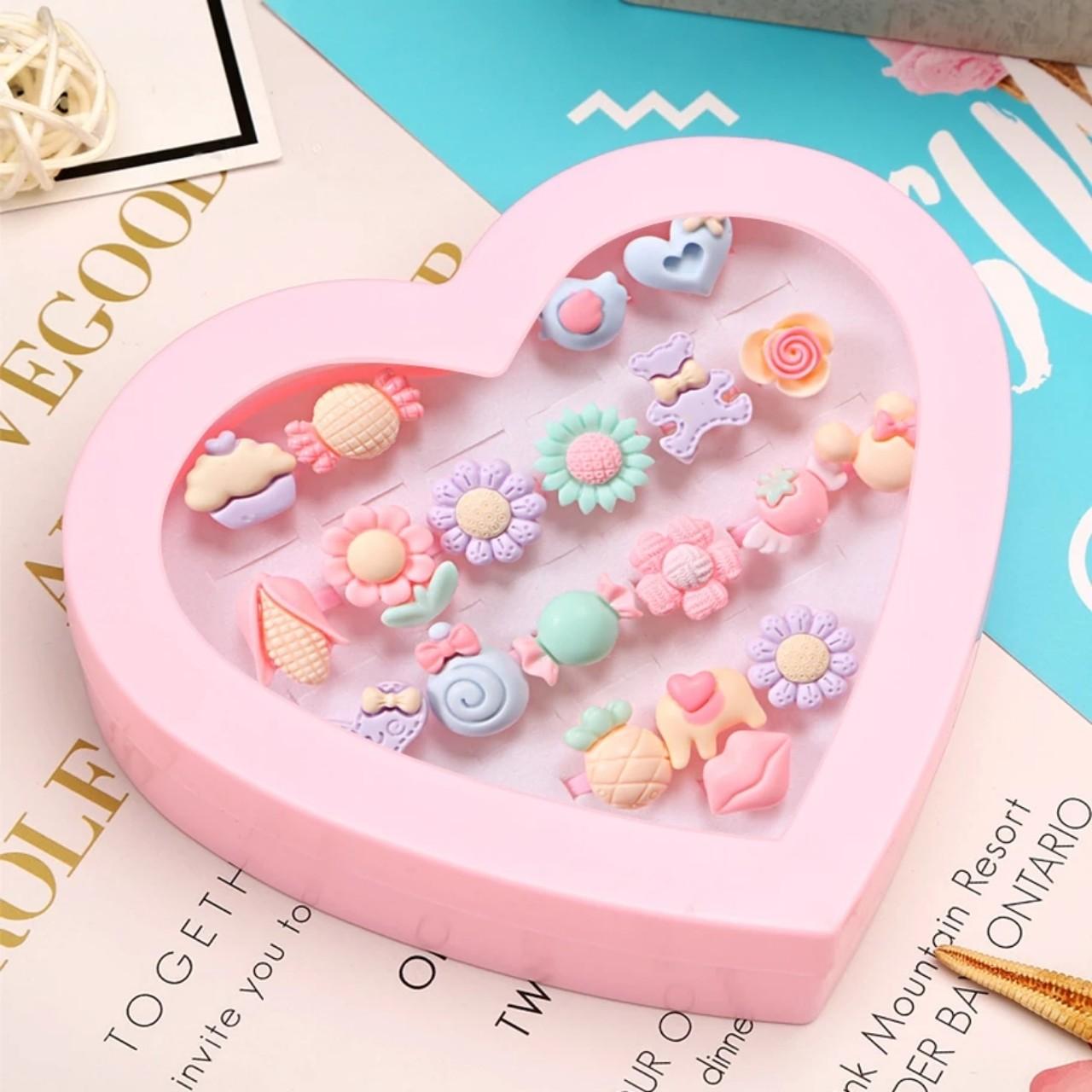 Hộp nhẫn xinh xắn nhiều màu sắc cho bé gái (19-20pcs) - J001