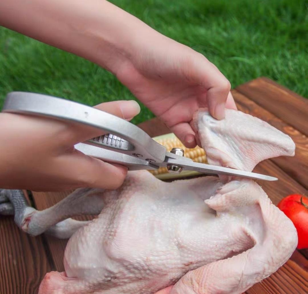 Kéo bếp Nhật Bản inox cao cấp tặng Gắp thịt inox 304 và Chổi phết gia vị bằng silicon – Gia dụng bếp