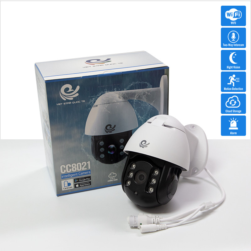 Camera Wifi An Ninh Quan Sát Ngoài Trời, Chống Nước, Kết Nối Wifi Độ Phân Giải 2.0Mpx FULL HD 1920x1080, Xoay 360 Độ Model CC8021 - Chính Hãng
