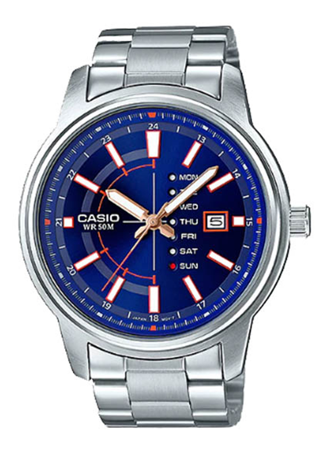 Đồng hồ Nam Casio MTP-E128D-2AVDF Dây Kim Loại - Mặt Màu xanh Đồng hồ Nam Casio MTP-E128D-2AVDF Dây Kim Loại - Mặt Màu xanh