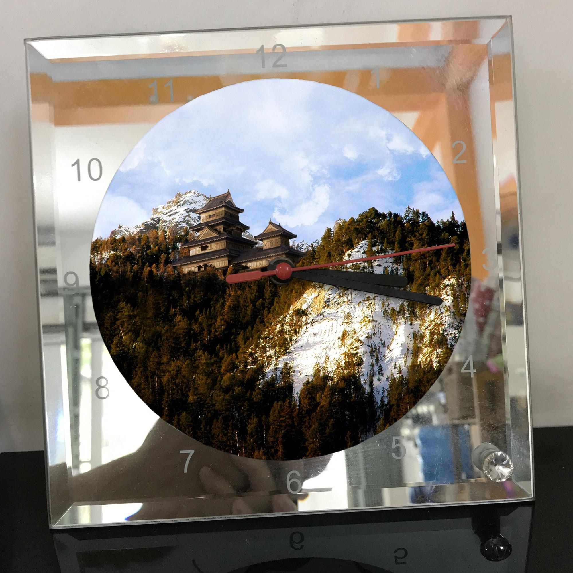 Đồng hồ thủy tinh vuông 20x20 in hình Temple - đền thờ (13) . Đồng hồ thủy tinh để bàn trang trí đẹp chủ đề tôn giáo