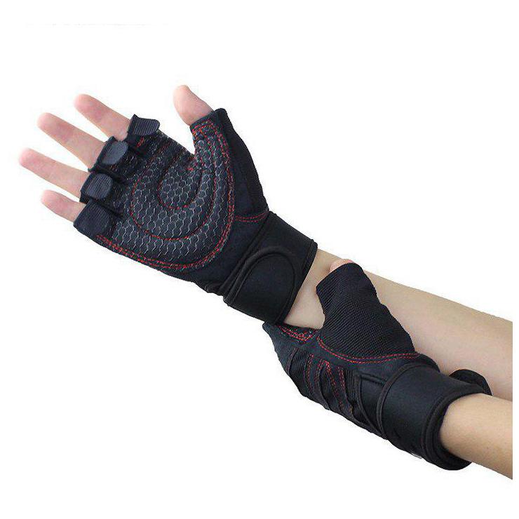 Găng tay tập gym, nam nữ, có đai quấn bảo vệ cổ tay