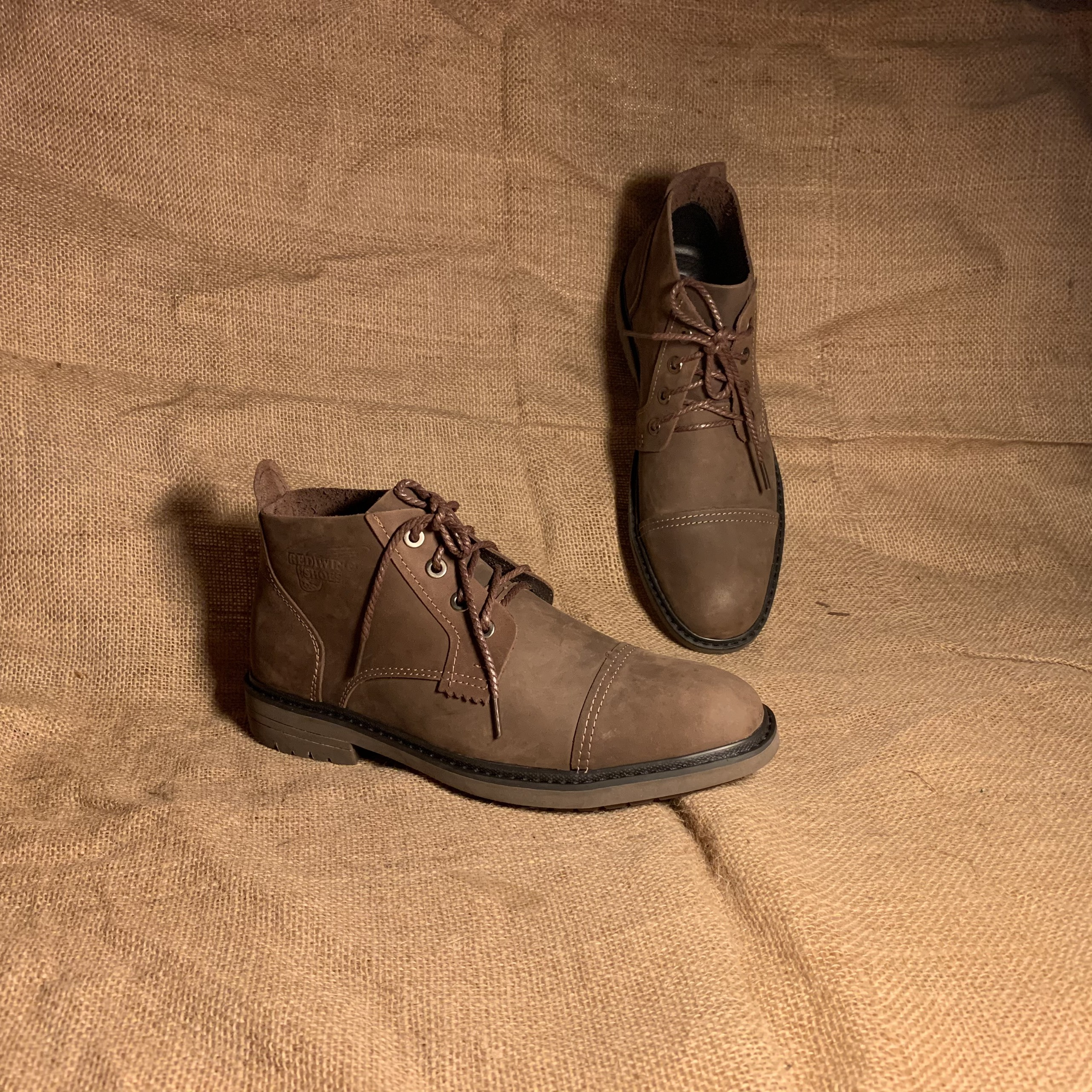 Giày cao cổ nam da bò sáp ngựa điên desert capote