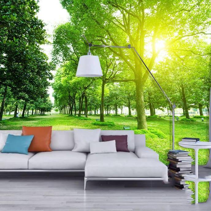 Tranh dán tường 3D 2 hàng cây xanh PC24