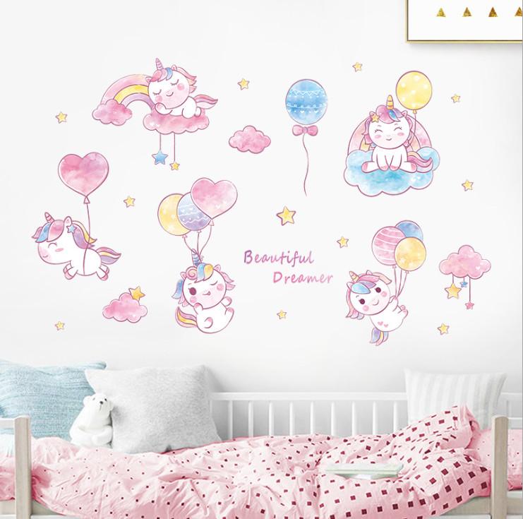 Decal dán tường cho bé gái dễ thương màu hồng Beautiful Dreamer (80 x 123 cm)