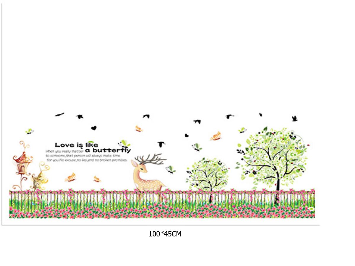 decal dán tường chân rào cây hươu