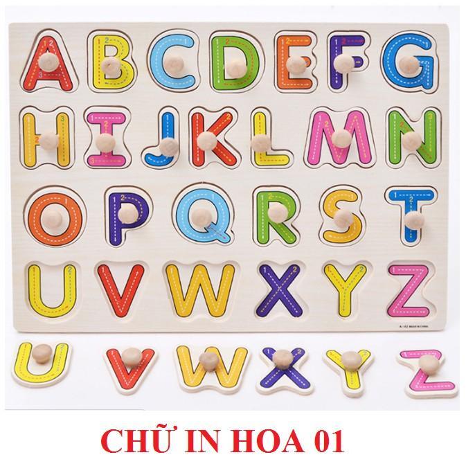 Combo 5 bảng núm gỗ lắp ghép hàng loại 1 gồm bảng chữ, số, giao thông, thú rừng, hoa quả