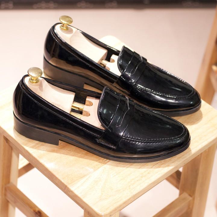 Giày Lười Nam Đẹp Băng Khuyết Da Bóng Rất Sang Trọng - Giày Lười Nam Đẹp Băng Khuyết Da M367-BONG(K)-Kèm Móc Khóa Da Bò