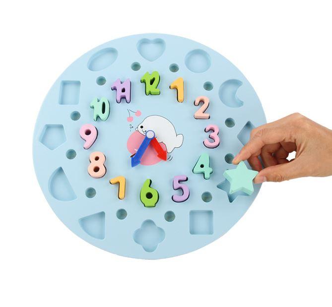 Đồ chơi giáo dục 4in1 Đồng hồ, Cọc Tính, Số Đếm, Hình học