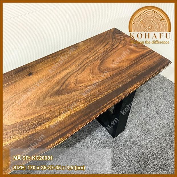 Mặt gỗ me tây nguyên tấm, dậm màu, băng ghế gỗ nguyên tấm dài 170 x rộng (35-37-35) x dày 3,5 (cm)