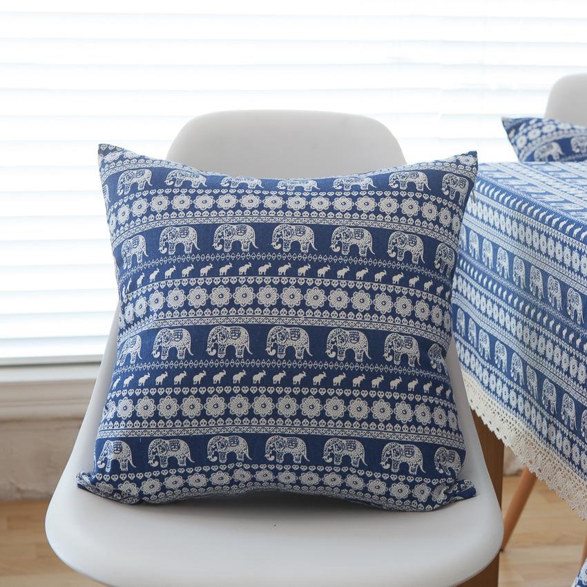Vỏ gối vuông tựa lưng bằng vải bố cao cấp phong cách Bohemian (45 x 45 cm)