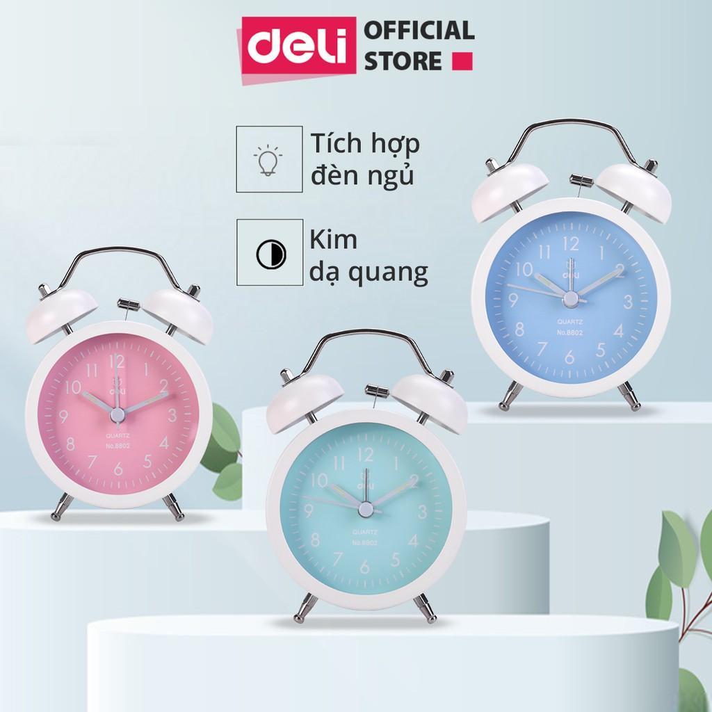 Đồng hồ báo thức Deli - Xanh dương/Xanh lá/ Hồng - 8802