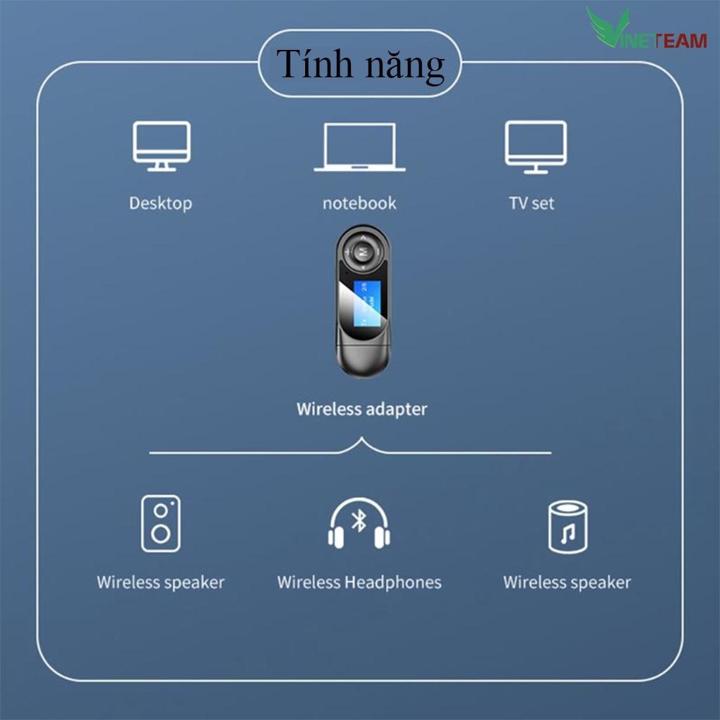 Thiết bị thu phát nhạc không dây VINETTEAM T13 Bluetooth 5.0 với màn hình hiển thị LCD 3.5mm AUX -4352- hàng chính hãng