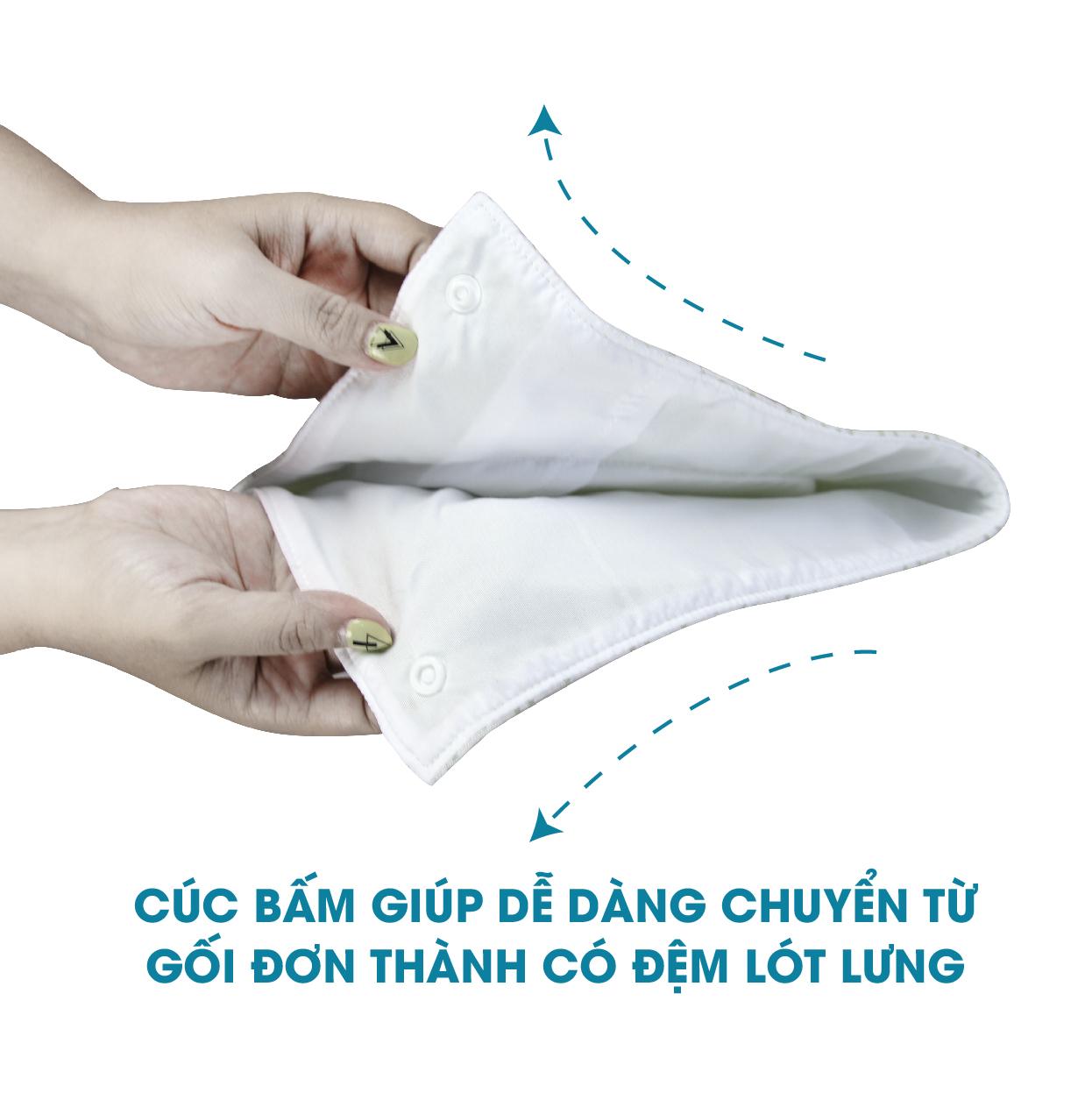 Gối lõm định hình đầu ruột cao su non vỏ sợi tre bamboo kháng khuẩn chống bẹt / bẹp đầu cho bé sơ sinh Comfybaby CF52020N04