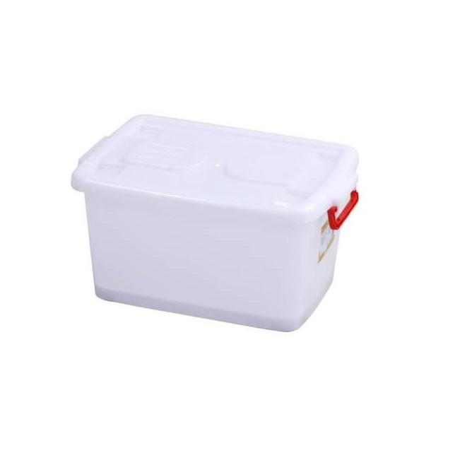 Thùng nhựa vuông đa năng 30L có bánh xe (quai màu ngẫu nhiên)