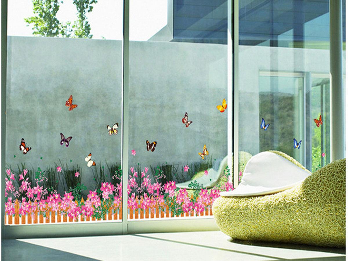 Decal dán tường chân rào hoa màu hồng ay756