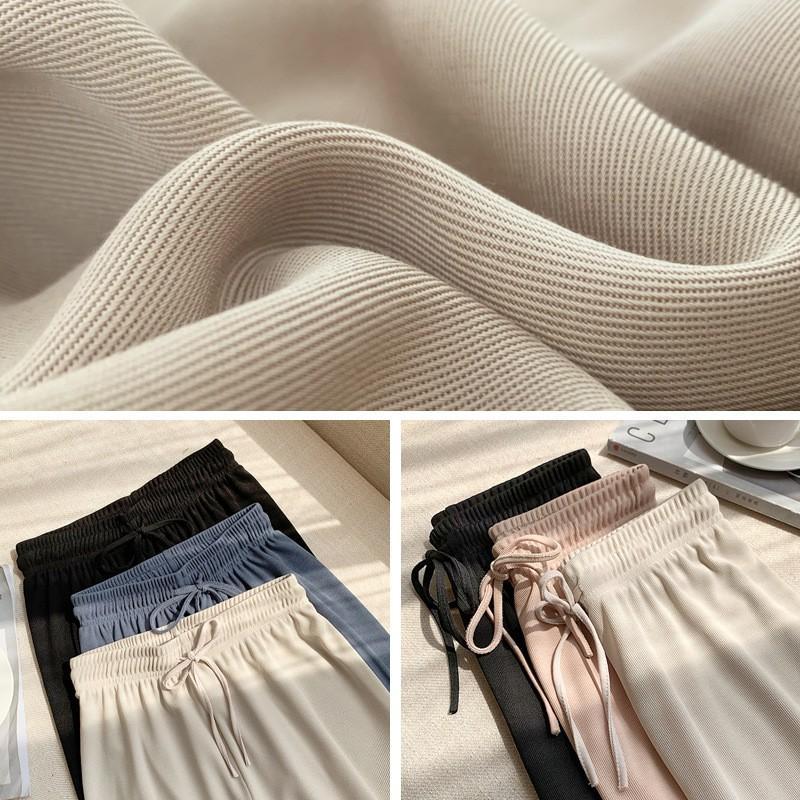 Quần Ống Rộng Nữ cạp chun len tăm dày dặn, Quần ống rộng cạp cao nữ ống suông phong cách ulzzang Hàn Quốc Q06 - Maoshop