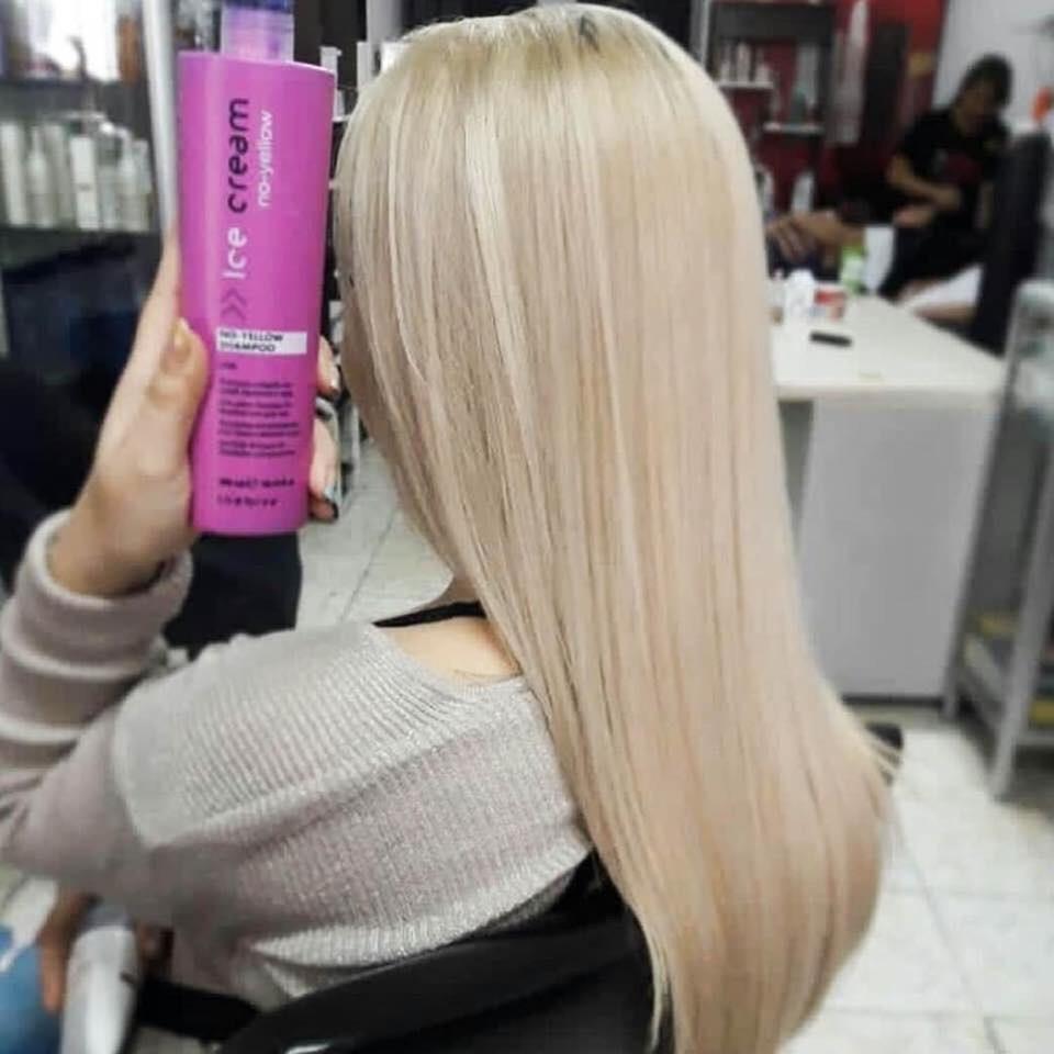 Dầu gội khử vàng INEBRYA Ice-Cream No-Yellow shampoo cho tóc nhuộm bạch kim highlight 300ml