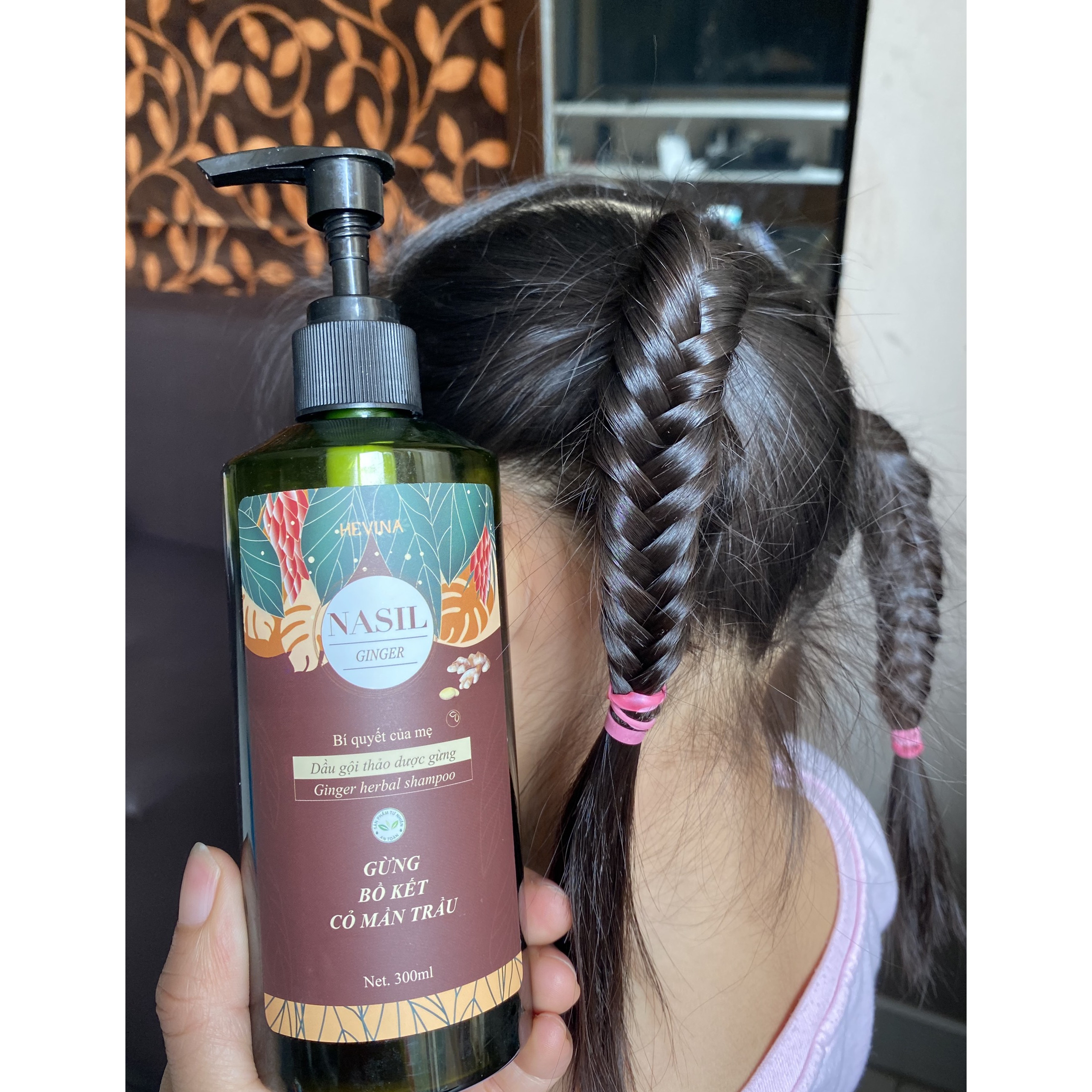 Dầu gội dưỡng sinh NASIL gừng phục hồi tóc hư tổn, sạch gàu, lưu thông khí huyết, tóc mọc nhanh dày ,bồng bềnh