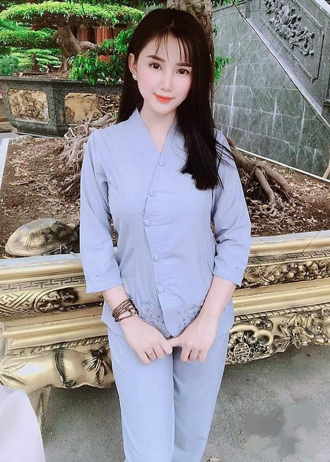 Áo Lam Đi Chùa - Vạt Chéo Thêu Gấu Màu Xanh Lam
