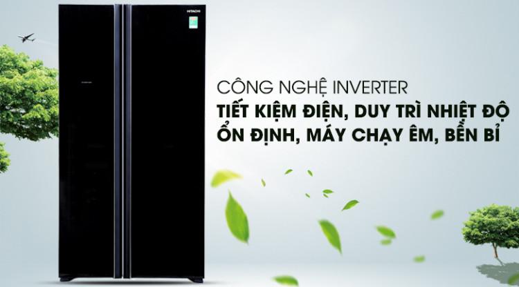 Công nghệ Inverter tiết kiệm điện năng - Tủ lạnh Hitachi Inverter 605 lít R-S700PGV2 GBK