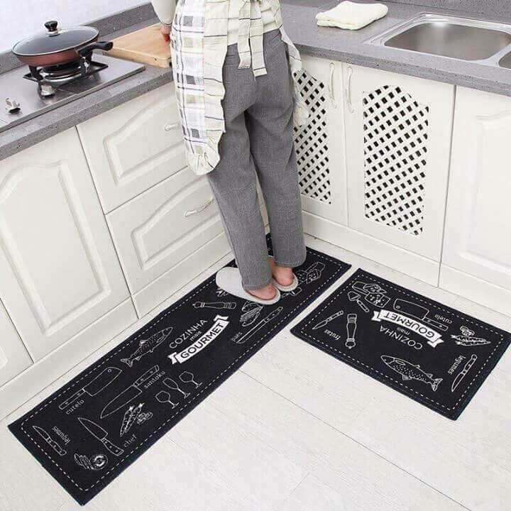 Bộ 2 thảm nhà bếp siêu dày dặn 40x60cm và 40x120cm tặng kèm dụng cụ rửa bát lót nồi silicol tiện lợi Shop giao mầu ngẫu nhiên