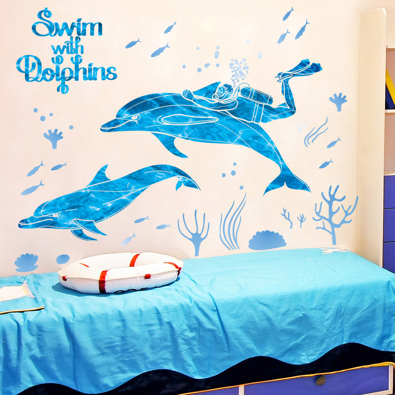 Decal dán tường Bơi Cùng Dolphin XL7205