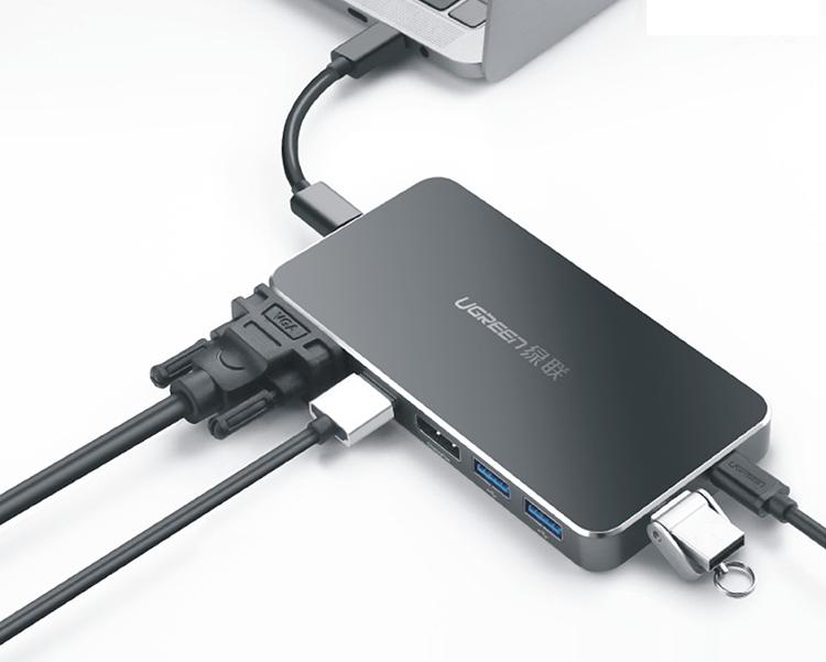 Bộ Chuyển Đổi Ugreen USB Type-C Sang VGA HDMI DP 2 x USB 3.0 Type-C (PD) 40872 - Hàng Chính Hãng