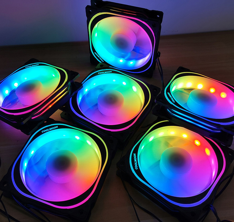 Bộ 4 quạt, Fan tản nhiệt case Coolmoon FS Led RGB - Hàng Nhập Khẩu