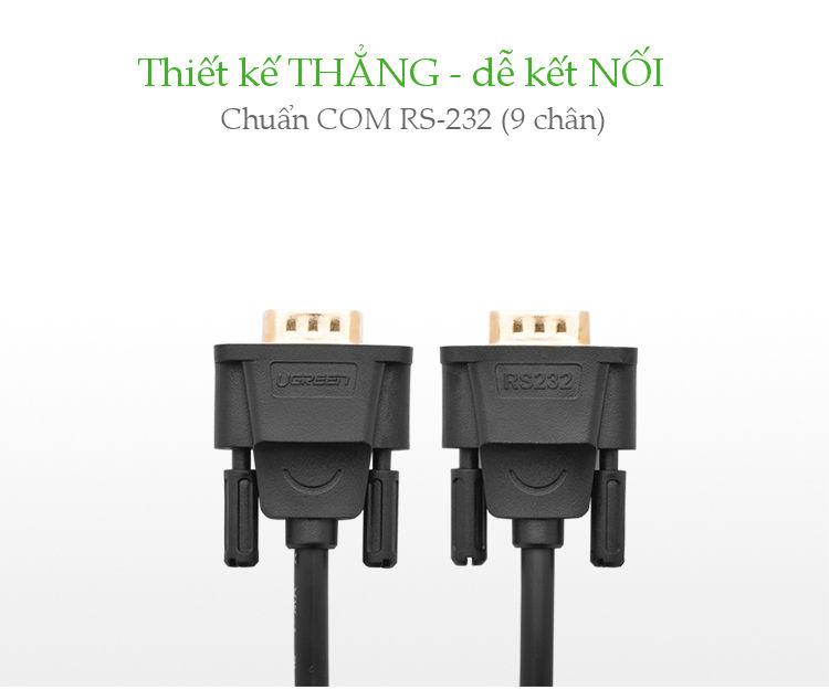 Dây nối dài COM RS-232 đực sang cái 1.5m UGREEN DB101 20145 - Hàng chính hãng