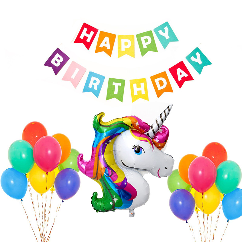 Combo trang trí sinh nhật rainbown unicorn