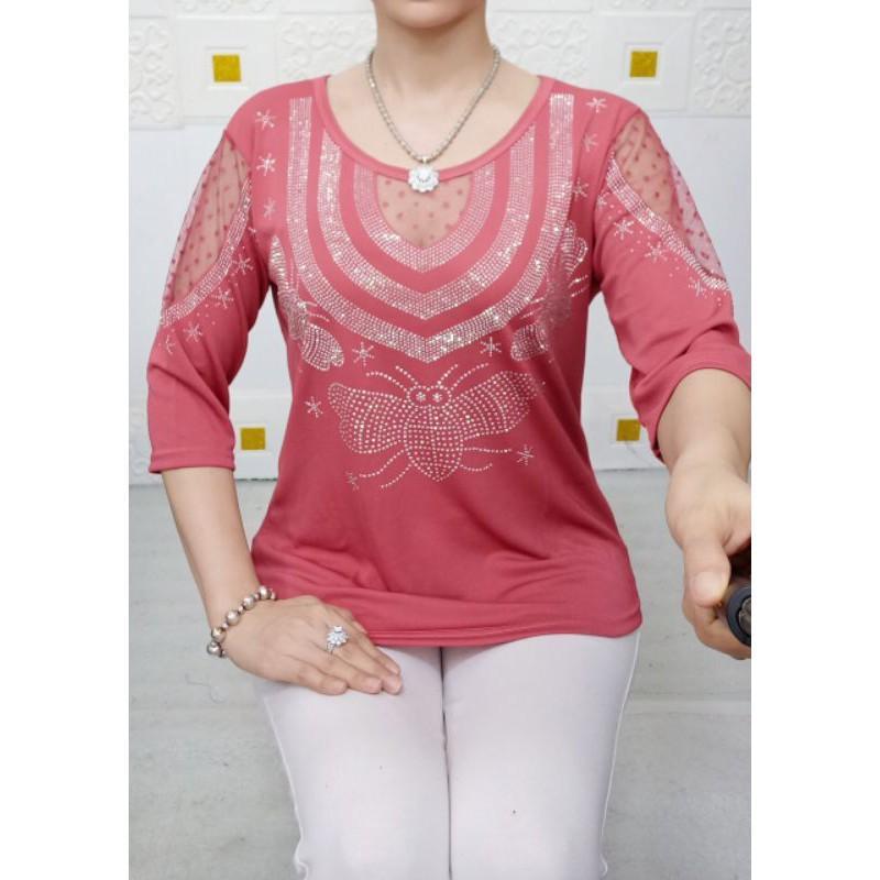 Áo thun đính đá - thời trang trung niên - size 50-75kg