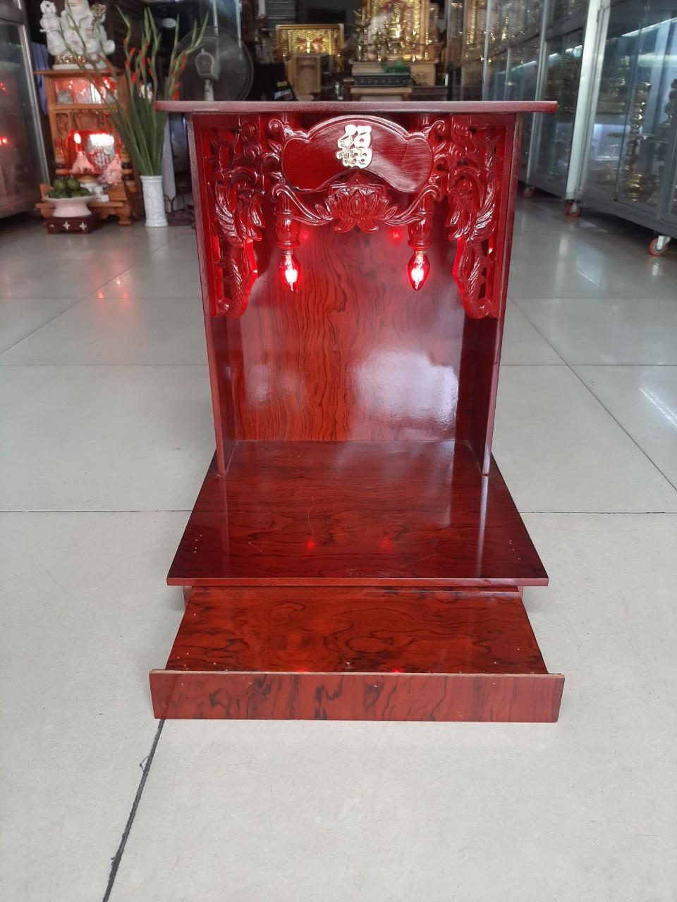 Bàn thờ Thần Tài Ông Địa gỗ Ép ngang 40 , cao 60, Bộ Combo Thần Tài Ông Địa 9 món - Đồ Thờ Thắng Duyên Đại Phát