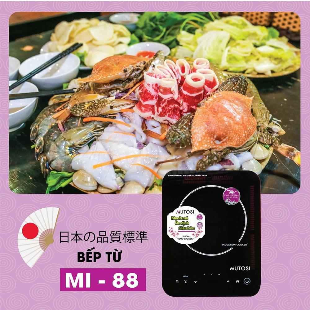 Bếp điện từ đơn Mutosi MI-88 (Đen) - Tặng nồi lẩu - Hàng chính hãng