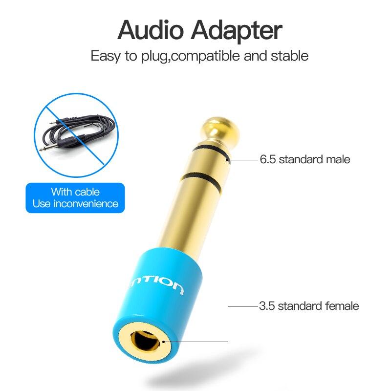 Đầu chuyển Audio 6.5mm (M) sang 3.5mm (F) Vention VAB-S01-L - Hàng chính hãng