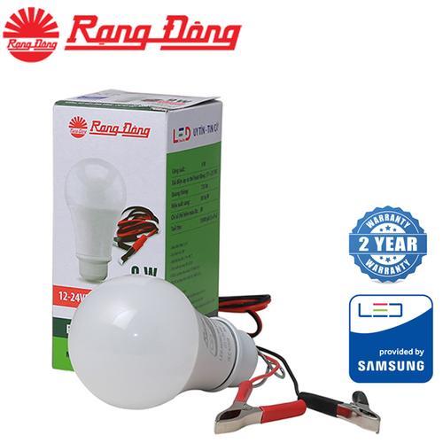 Bóng đèn LED BULB DC 9W Rạng Đông có kẹp, chip LED Samsung dùng nguồn 12-24V một chiều ( LED A60N1 12-24VDC/9W)