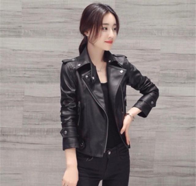 CÓ SẴN) áo da nữ, áo khoác da quảng châu