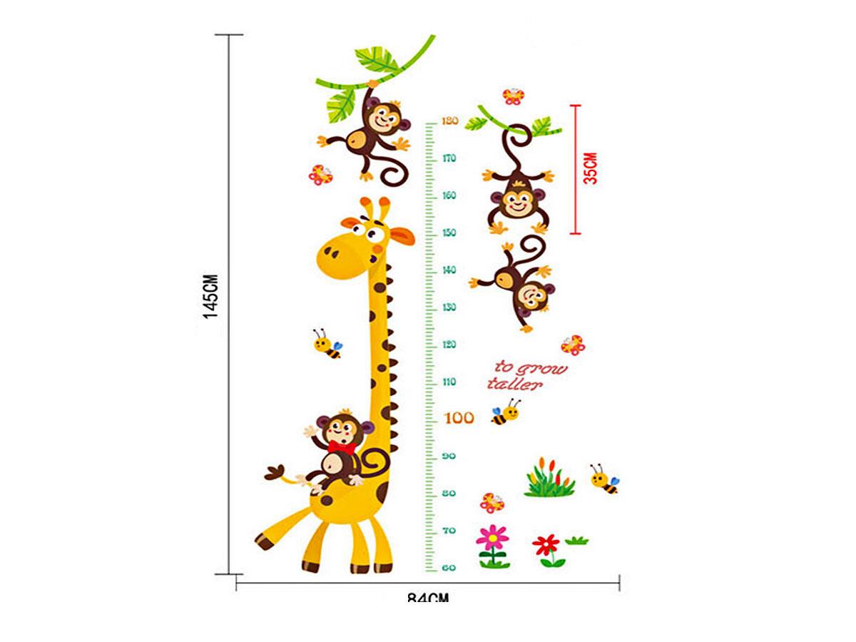 decal dán tường cho bé thước đo chiều cao ngộ nghĩnh hươu cao cổ và khỉ sk9292
