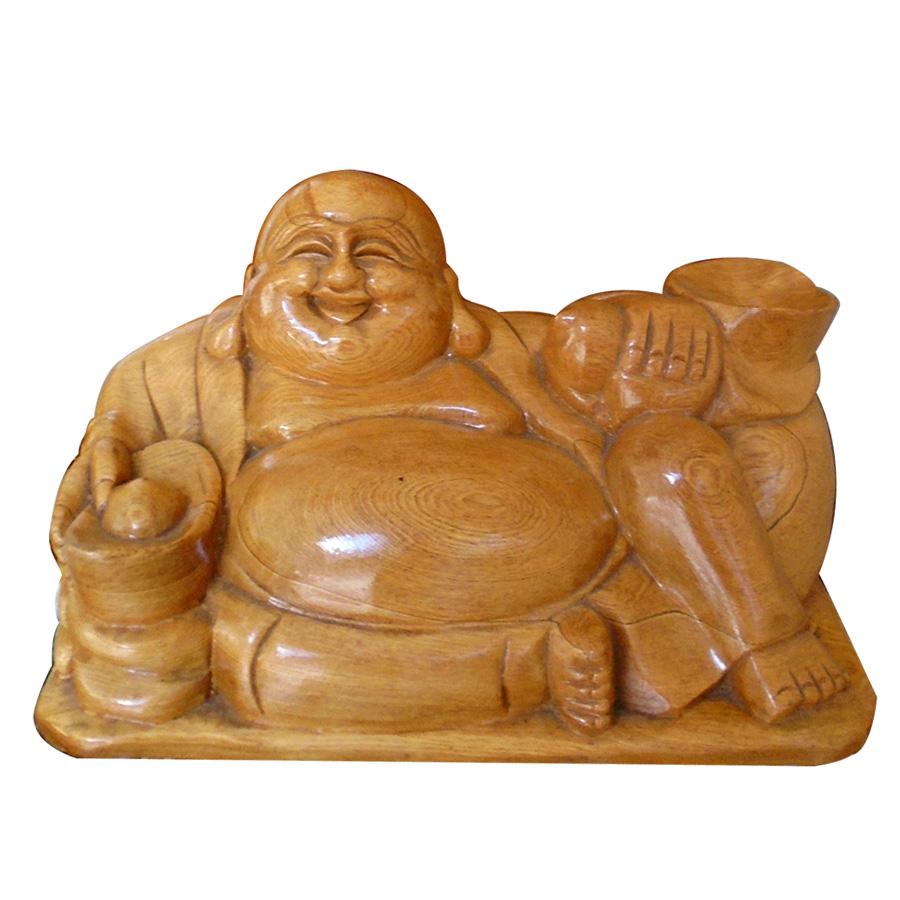 Tượng phật di lặc ngồi cầm vàng gỗ pơ mu cao cấp PMN22