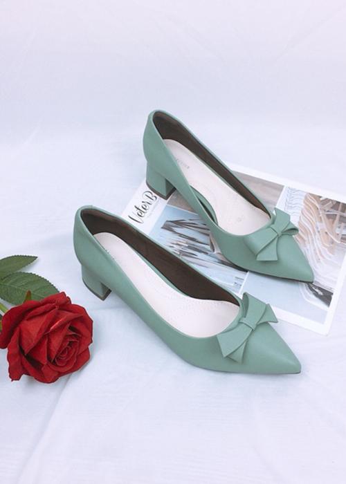 Giày cao gót nơ da mềm cao cấp trụ 4cm màu xanh ngọc
