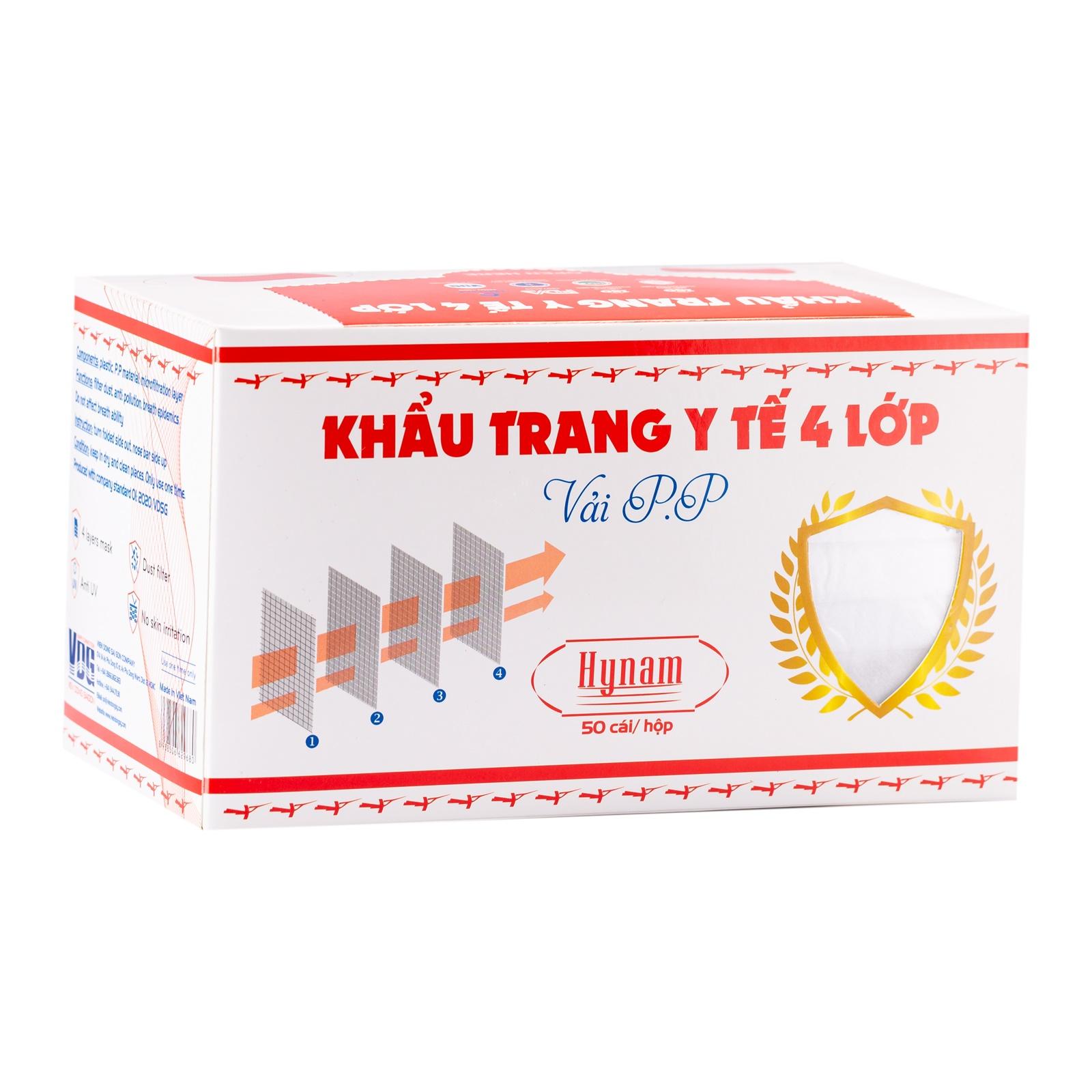 Khẩu trang y tế 4 lớp vải không dệt Hynam - (50 cái/ hộp) - Màu trắng