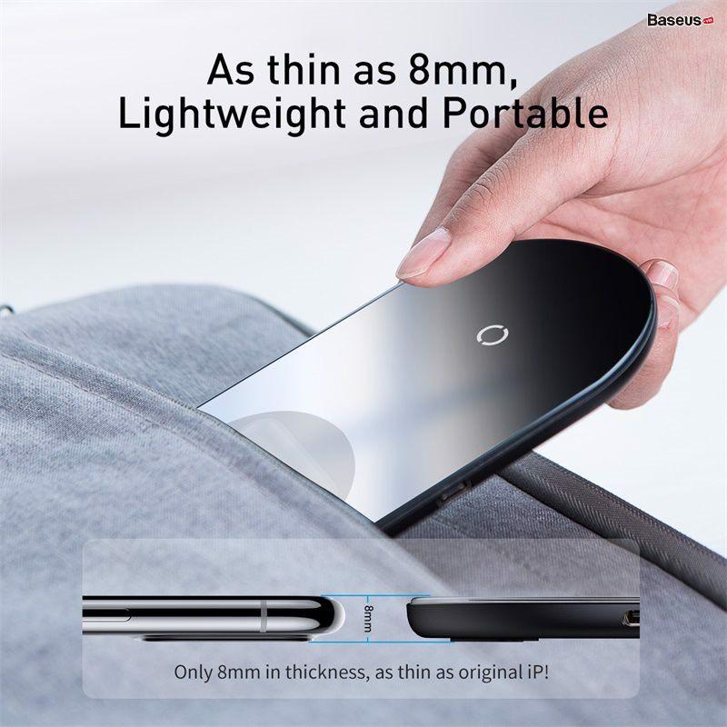 Đế sạc không dây Baseus Simple 2 in 1 Wireless Charger 18W - Hàng Chính Hãng