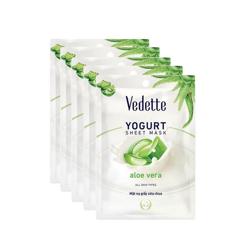 Combo 5 Mặt nạ giấy sữa chua Vedette Nha đam 22ml