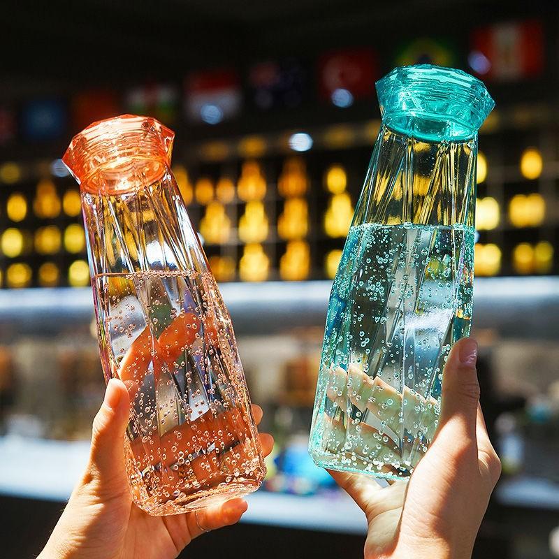 Chai Thủy Tinh Đựng Nước cao cấp 450ML - Nhiều Màu Sắc - Mẫu giác cắt kim Cương (1 chai) – Bình Đựng Nước, Café, Trà, Nước Ép cực đẹp cho các anh chị làm văn phòng – hot trend, mẫu mới nhất hiện nay