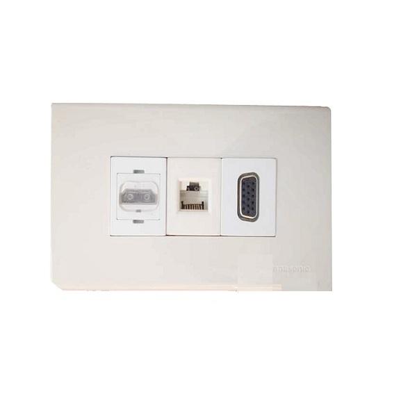 Bộ wallplate 3 cổng âm tường HDMI-VGA-LAN