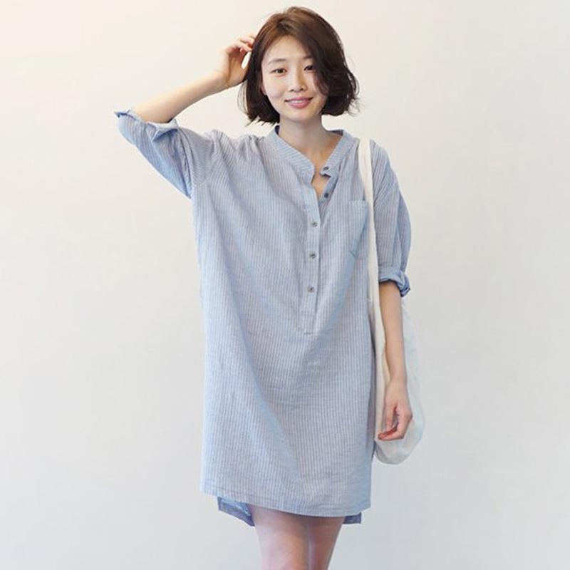 Women Summer Loose V Collar Cotton Stripes Medium Sleeve Shirt Dress - Blue Strips Size M