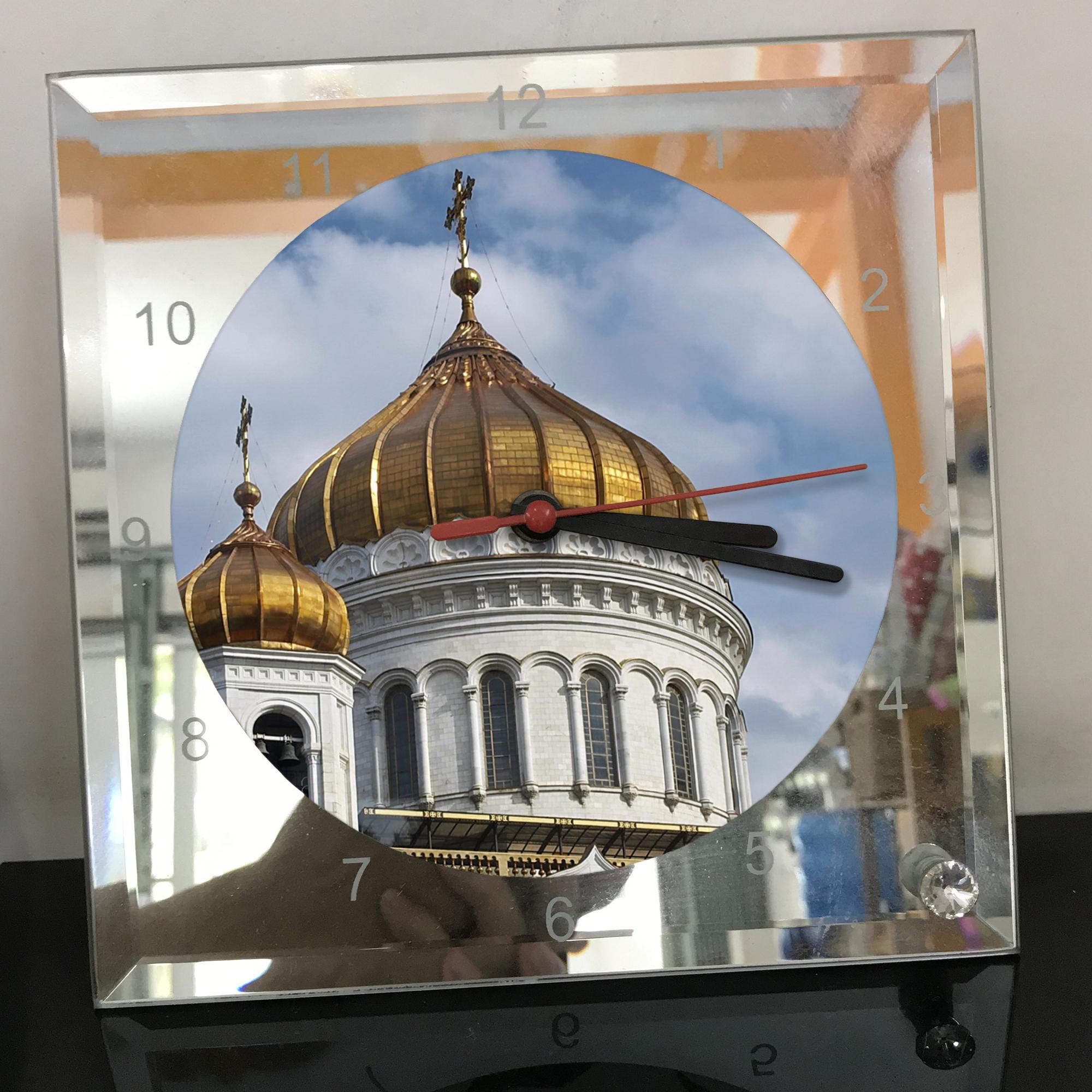 Đồng hồ thủy tinh vuông 20x20 in hình Cathedral Of Christ the saviour (17) . Đồng hồ thủy tinh để bàn trang trí đẹp chủ đề tôn giáo