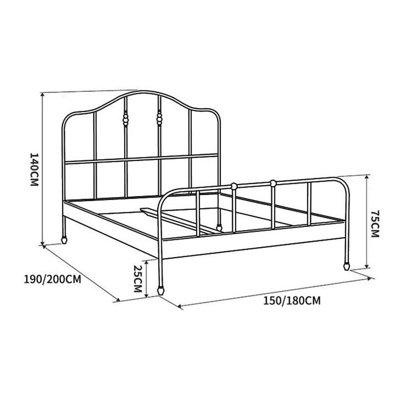 Giường sắt mỹ nghệ uốn cong nghệ thuật kích thước 1.5x1.9m
