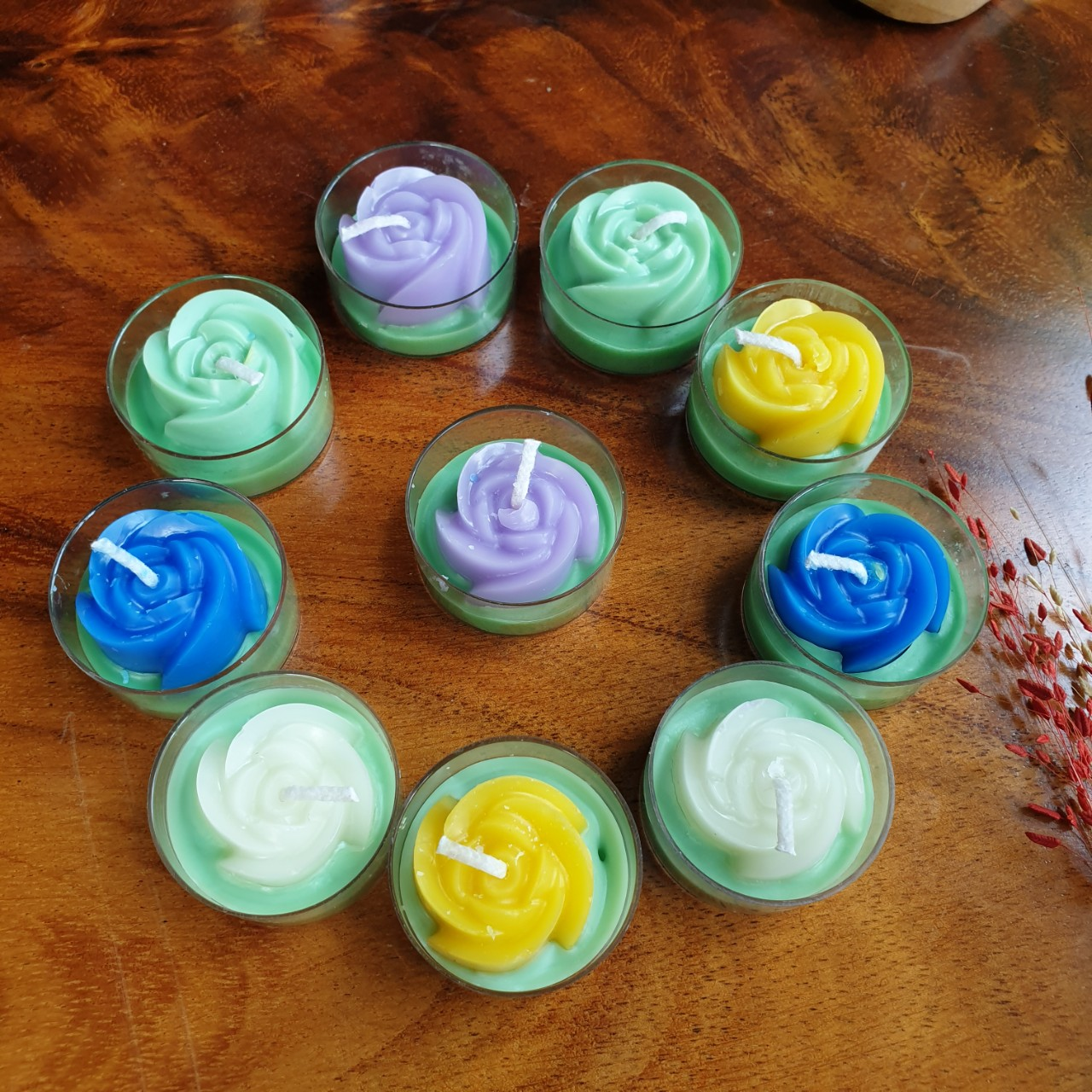 Set 10 Nến tealight hoa hồng tinh dầu hoa hồng - giúp thư giãn, giảm stress, thơm phòng- Rore Essential Oil Candle